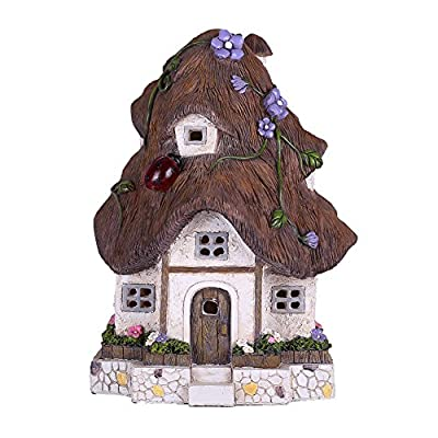 TERESA'S COLLECTIONS Fairy Garden House Statues Outdoor Cottage Sculptures with Solar Lights, Polyresin Garden Figurines for Outdoor Fall Patio Lawn Yard Decoration (Outdoor Paradise)