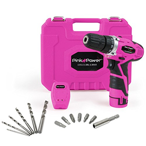Pink Power PP121LI 12V Cordless Drill amp Driver Tool Kit for Women Tool Case Lithium Ion Electric Drill Drill Set Battery amp Charger
