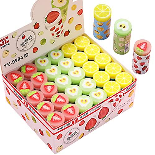 UTST 面白い フルーツ 消しゴム 文房具 グリーン ピンク イエロー いちご りんご れもん 消しごむ 景品 誕生日 プレゼント に