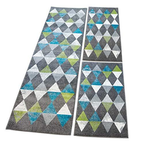 carpet city Bettumrandung Flachflor Modern Gemustert in Grau, Weiß, 3-teiliges Teppich-Läuferset 2X 80x150cm/ 1x 80x300cm für Schlafzimmer