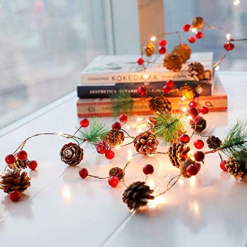 Garland with Lights, Christmas Led String Lights Christmas Bell Pine Needle Pine Cone Xmas wreath tree garland-2m-6.8ft /20 Led