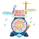 ZXIAQI Juguete Eléctrico para Niños Tambor Conjunto, Micrófono de Trabajo y Graves de Sonido Ajustable Pedal de Tambor Baquetas de Tambor Juguetes Educativos para Niño Niña Regalo con Sillita