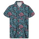 Camisa Hawaiana Para Hombre - Camisa Holgada Hawaiana Para Hombre Camisa De Manga Corta Con Estampado De Calavera De Flores Tropicales Blusa Aloha, Camisas Superiores De Calle Con Solapa De Ve