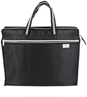 LLDDP Folders Portable File Bag Custom Double-Layer Large Capacity File Bag Business Briefcase Conference Kit Package, Black, Blue Size: 38 × 31 (cm) Document Wallet (Color : Black)