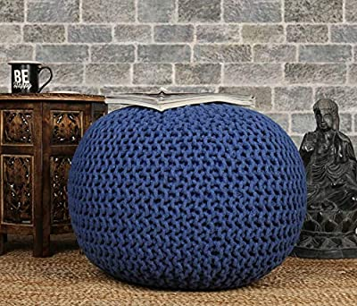 RAJRANG BRINGING RAJASTHAN TO YOU Pure Cotton Stuffed Pouf - 23 X 16 inch - Large Hand Knitted Braided Cotton Cord Round Ottoman Small Space Bedroom Decorative Seating - Blue
