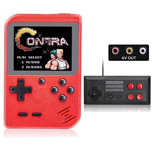 Consola de Juegos Portátil, 500 in 1 Juegos FC Clásicos, 3 in Pantalla LCD, 800 mAh Batería Recargable, Consola Mini Retro Soporte para Conectar TV y Dos Jugadores, Regalos de Niños y Adultos (Rojo)