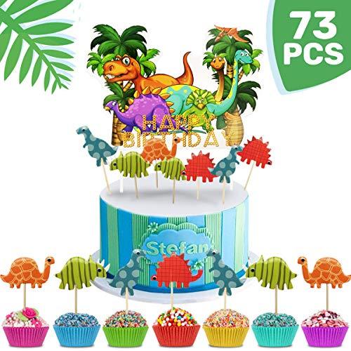 iZoeL Tortendeko Geburtstag Junge 72 Stück Dinosaurier Cake Topper + Happy Birthday Dschungel Girlande Geburtstagsparty Deko