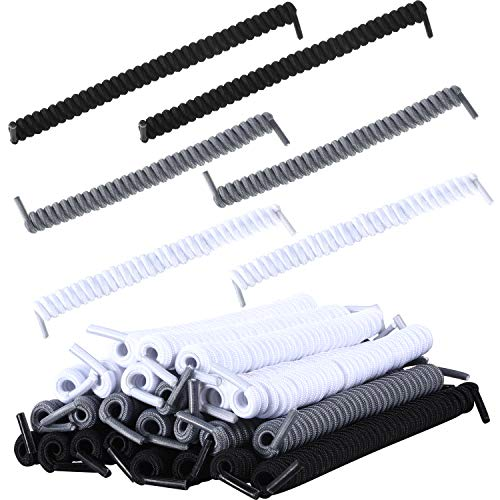12 Pairs No Tie Curly Shoelaces Elastic Shoe Lace for Kids and Adults (White, Black, Gray)