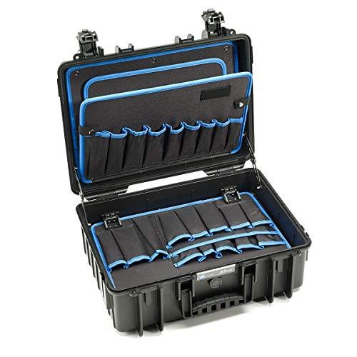 B&W Werkzeugkoffer JET 5000 mit Werkzeugeinsteckfächern (Koffer aus PP, Volumen 19,1l, 41,6 x 28,7 x 16 cm innen) 117.17/P, ohne Werkzeug