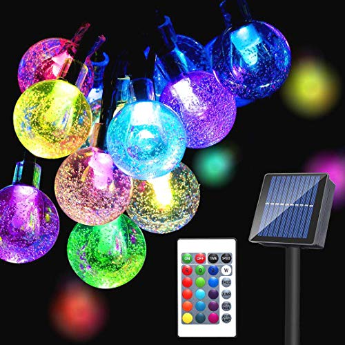 Solar 65LED Globe String Lights Outdoor,16Colors Changing 20Modes Waterproof Fairy Lights with Remote, 43Ft Solar Powered Starry Light for Garden Fence Yard Home Party Wedding Christmas Decoration