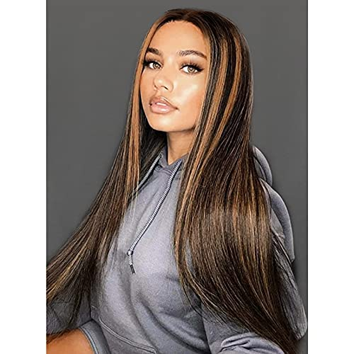 Stamped Glorious Long Straight Highlights Wigs for Women Synthetic Middle Part Blonde Highlights Hair Wigs Natural Looking Ombre Brown Highlights Hair