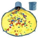 【最新デザイン】ブロック 収納 マット おもちゃ収納袋 玩具 ブロック片づけ 収納マット 生活小物 洗濯可能 お出かけに便利 多用途 お片付け簡単 超大 誕生日プレゼント 子供片付け練習 (ネイビー1.5M)