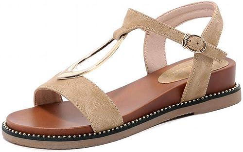 LTN Ltd - sandals Sandales Compensées pour Femme, été, Chaussures de Plage, Chaussures pour Femmes, Marron, 36