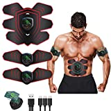 ABS Stimulator Ab Machine Rechargeable, EMS Abdominal Trainers with 6 Modes 10 Levels, Muscle Toner Workout Exercise Equipment for Men Women