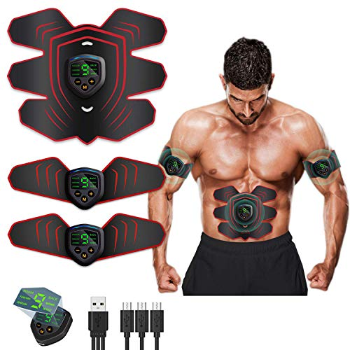 MATEHOM ABS Stimulator Ab Machine Rechargeable, EMS Abdominal Trainers with 6 Modes 10 Levels, Muscle Toner Workout Exercise Equipment for Men Women