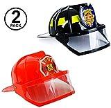 Tigerdoe Fireman Hat - Firefighter Hat & Fire Chief Hat - Fireman Costume Accessories - Fireman Helmet (Black and Red)