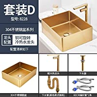 RVアクセサリー 304ステンレススチールゴールドブラシ洗浄BSIN長方形のカウンタートップ洗面台ホテルKTVバスルーム洗面台シャンプーボール船の流し (Color : 8228 D, Size : フリー)