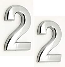2 Pack Self Stick Solid House Numbers 2 Door Address Sign Stickers for Apartment Hotel Condo Mailbox Silver 2.75 inch HIgh (2.75