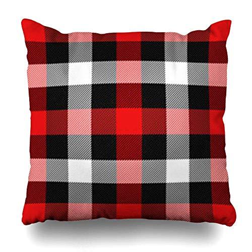Funda de almohada cuadrada de 45,7 x 45,7 cm, color rojo, negro, Navidad, Año Nuevo, tartán, azulejo escocesa, abstracto, caja de búfalo, celda celta, a cuadros, con cremallera, decoración del hogar