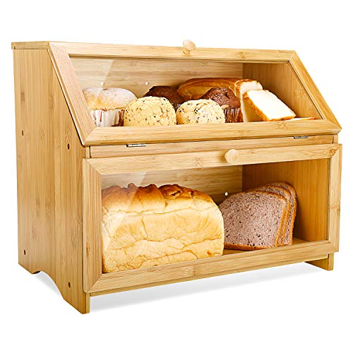 HOMEKOKO Double Layer Large Bread Box for Kitchen Counter, Wooden Large Capacity Bread Storage Bin