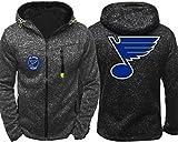 Funnyy Sudadera Unisex, Desgaste de Hockey St. Louis Blues Desgaste de Entrenamiento de Primavera/Verano Zip Cardigan Prendas de Deporte - - Hombres Sudadera Chaqueta Adolescentes Regalo