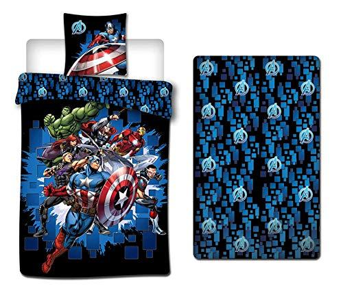 AYMAX S.P.R.L. Disney - Juego de funda nórdica y funda de almohada (140 x 200 cm y 90 x 190 cm), diseño de Los Vengadores