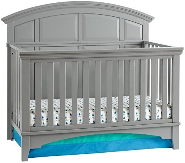 4 In 1 Easy To Assemble Brooklyn Convertible Crib Built In Hardware 3 Mattress Height Positions Nursery Gray