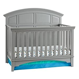4-in-1, Easy-to-Assemble, Brooklyn Convertible Crib – Built-in Hardware, 3 Mattress Height Positions, Nursery Gray
