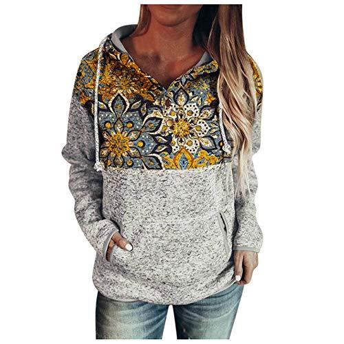 HJFR 2021 Nouveau Mode Femme Blouse Automne et Hiver Sweats Pull à Capuche Manches Longues Femme Pullover T-Shirt Sweat Shirt Chemisier Manteaux Femme Décontracté Tunique,Impression de Style Ethnique