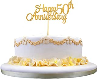 Glittery Gold Happy 50th Anniversary Cake Topper for 50th Birthday Party, 50th Anniversary Party and 50th Wedding Anniversary Party Decorations