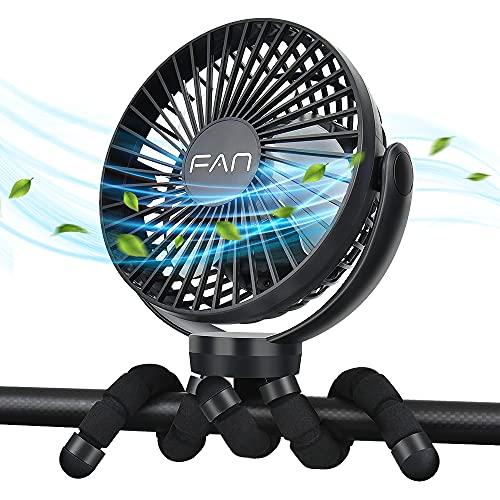 ZOOI USB Ventilator Mini Handventilator Leise Klein Tischventilator | 360° Drehung, 3 Geschwindigkeitsstufen, Starker Luftstrom,5000mAh | für Kinderwagen, Bibliothek, Büro, Zelt