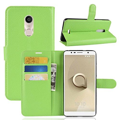 LMFULM® Hülle für Alcatel 3C 5026D (6 Zoll) PU Leder Magnet Brieftasche Lederhülle Litschi Muster Standfunktion Ledertasche Flip Cover für Alcatel 3C Grün