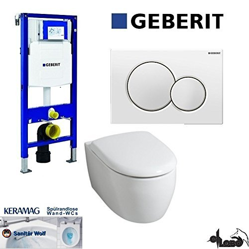 Geberit Duofix UP 320 Vorwandelement mit Sigma01, Keramag ICON, rimfree, Spülrandlos, Tiefspül-WC, inkl. Sitz,Keratect Beschichtung