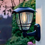 MAGGIFT 4 Pack Solar Powered Wall Lantern, Outdoor 10 Lumen LED Edison Bulb Warm White Solar Lights Wall Sconce with No Wiring Required, Fixture with Wall Mount Kit