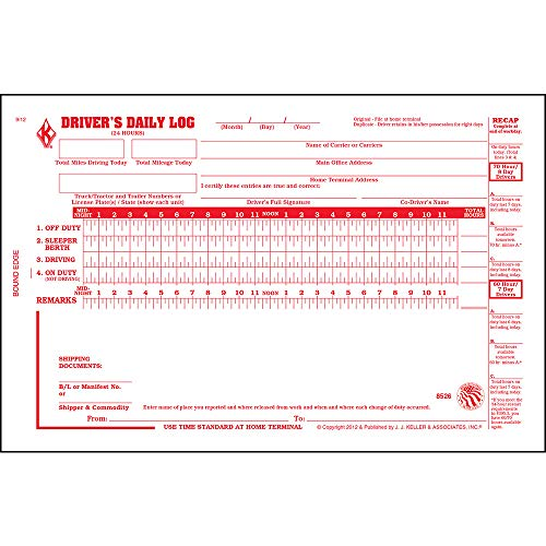 """Driver Daily Log Book 10-pk. with 7- and 8-Day Recap - Book Format, 2-Ply Carbonless, 8.5"""" x 5.5"""", 31 Sets of Forms Per Book - J. J. Keller & Associates"""
