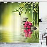 ABAKUHAUS Spa Duschvorhang, Steine Bambus Blätter, Hochwertig mit 12 Haken Set Leicht zu pflegen Farbfest Wasser Bakterie Resistent, 175 x 200 cm, Apple Green Magenta