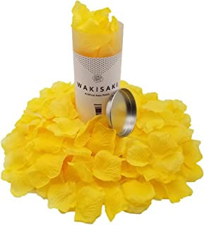 WAKISAKI (Separated, Pleasant-Smelling) Artificial Fake Rose Petals for Romantic Night, Wedding, Event, Party, Decoration, in Bulk (1000 Count, Royal Yellow)