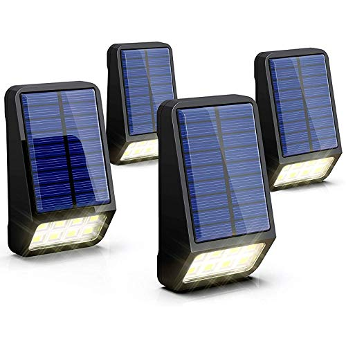 LOHAS LED Solar Outdoor Lights,Solar Fence Lights 6000K Daylight White,IP65 Waterproof Solar Deck Lights,Auto on/Off Mode with 180°Lighting Angle,Fence Post Lights for Garden Yard Patio,4 Packs