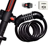 Blinkle Bike Lock 5-Digit Resettable Combination Bicycle Lock 1.2M/12MM Heavy Duty 4ft Bike Lock Cable with Bracket for Mountain, Road, Kids Balance Bike