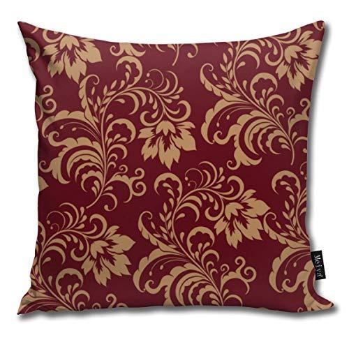 Dutars - Funda de cojín Cuadrada con diseño de espirales Florales, Color Granate y Dorado, para sofá, Cama, 45,7 x 45,7 cm
