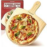 Pizzaschieber Holz - Naturbelassen - Aus Kiefernholz - Geschliffene Kanten - Für Pizza mit Ø 28-30 cm
