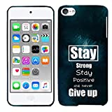 Glisten iPod Touch 7 Case, iPod Touch 6 Case, iPod Touch 5 Case - Stay Positive Quotes Design Printed Slim Profile Cute Plastic Hard Snap on iPod Touch 7/6 /5 Case (7th, 6th & 5th Gen)