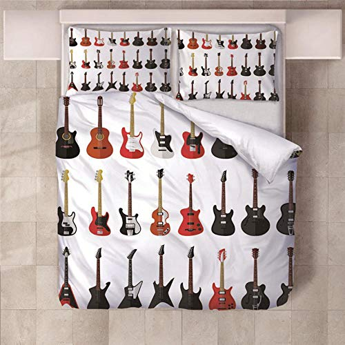 JKCloth Duvet Cover Set, Guitar evolution, Double Size Quilt Polyester Fabric Cover Bedding, Easy Care, Animal Print, 3 Piece Microfiber Bedding Set, 200x200cm