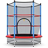 "Giantex 55"" Round Kids Mini Jumping Trampoline W/Safety Pad Enclosure Combo (Multicolor)..."