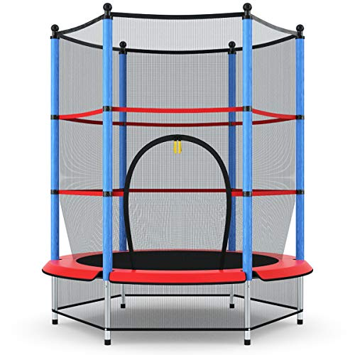 """Giantex 55"""" Round Kids Mini Jumping Trampoline W/Safety Pad Enclosure Combo (Multicolor) (Black+Blue+Red)"""
