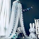 OldPAPA Moskitonetz, Betthimmel Deko Baldachin Moskitonetz Kinder Prinzessin Spielzelte Dekoration für Kinderzimmer, mit Sternen Dekoration 60 * 300cm (Blau) - 2