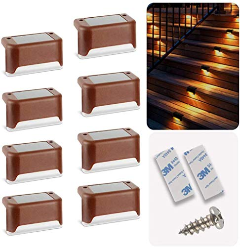Solar Deck Lights 8 Pcs, Solar Step Light Step Solar Lights Outdoor Motion Led Solar Powered Stair Lights Outdoor for Backyard, Stairs, Garden Pathway, Patio and Fences