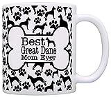 Dog Owner Gifts Best Great Dane Mom Ever Paw Pattern Gift Coffee Mug Tea Cup Bone Pattern