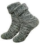 dunaro 1 Paar Extra warme & weiche Thermo ABS Anti Rutsch Socken mit Umschlag ( 1Paar Grau, 39-42 )