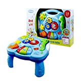 QqHAO Musical Lerntisch, Babyspielzeug 2 in 1 Früherziehung Spielzeug Musik Activity Center Tisch, für Jungen und Mädchen über sechs Monate